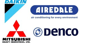 air conditioning maintenance - Bristol - K J R - daikin mitsubishi airedale denco logos