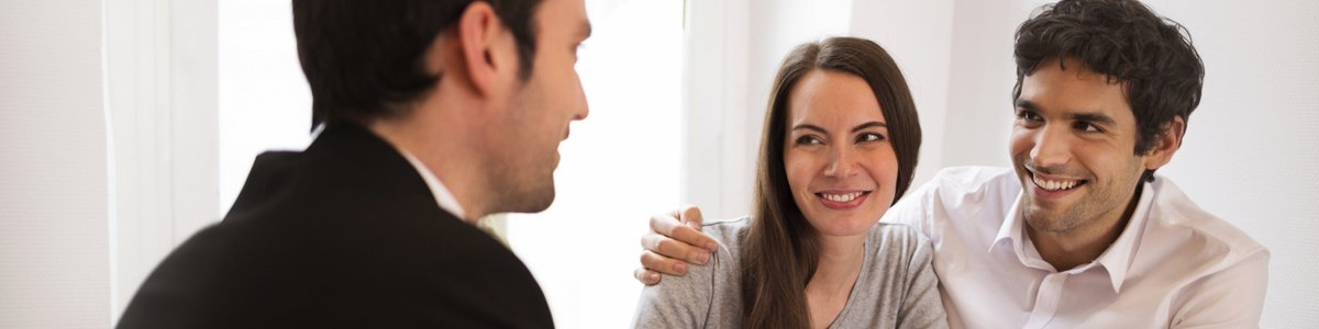 c l financial young couple meeting agent for person insurance