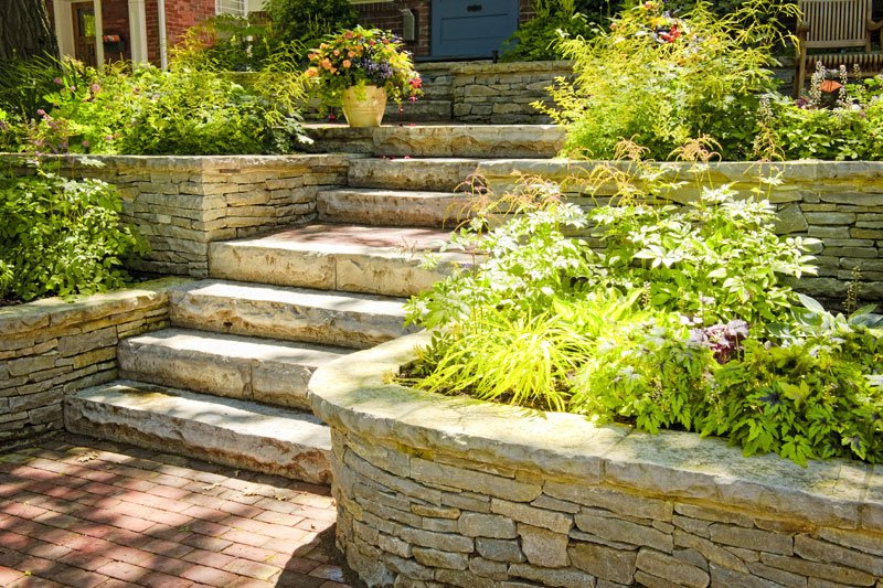 Landscaping in home garden with stairs
