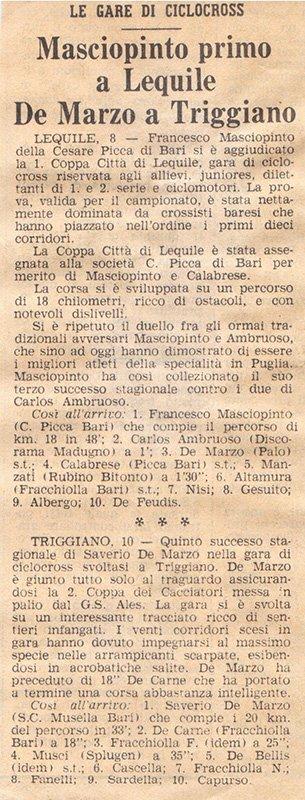 articolo di giornale su antica gara ciclistica