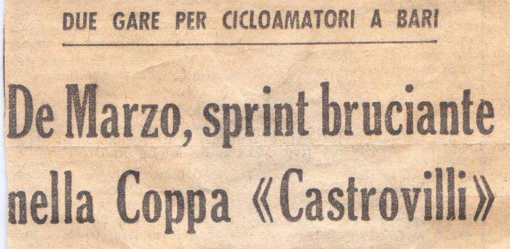 ritaglio giornale su vecchie gare ciclistiche