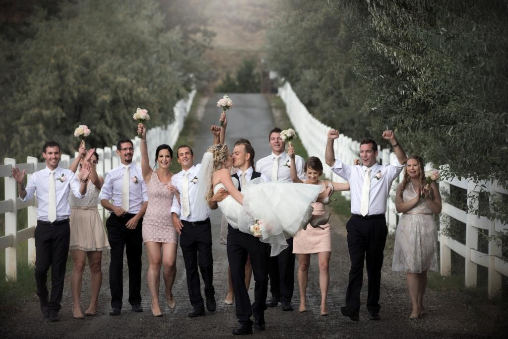 Bridal party on driveway