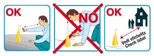 un disegno che spiega i comportamenti da seguire e le cose da non fare quando si ha a che fare con le fontane