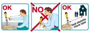 un disegno che spiega i comportamenti da seguire e le cose da non fare quando si ha a che fare con i razzi