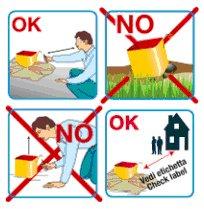 un disegno che spiega i comportamenti da seguire e le cose da non fare quando si ha a che fare con gli spettacoli