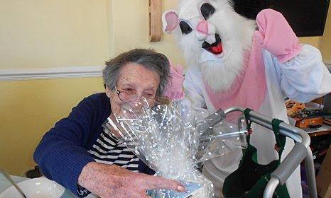 an elderly lady enjoying