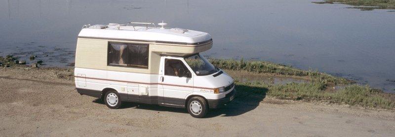 caravan by a lake