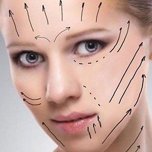 viso di una donna con delle frecce e linee disegnate per un intervento chirurgico