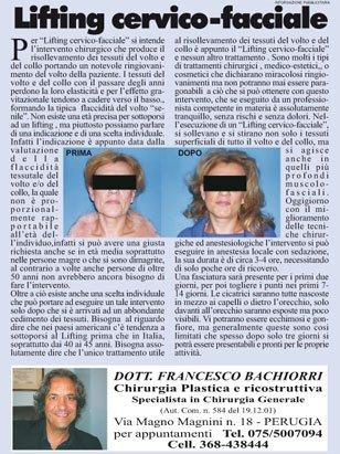un articolo in un giornale che parla di Lifting Cervico - Facciale