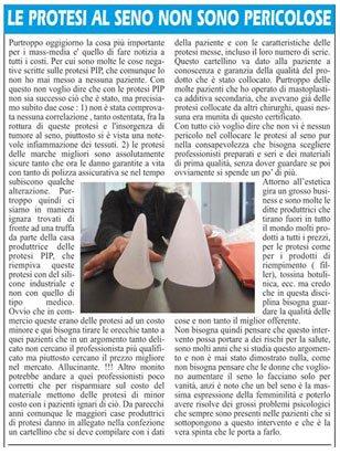 un articolo con il titolo Le Protesi Al Seno Non Sono Pericolose