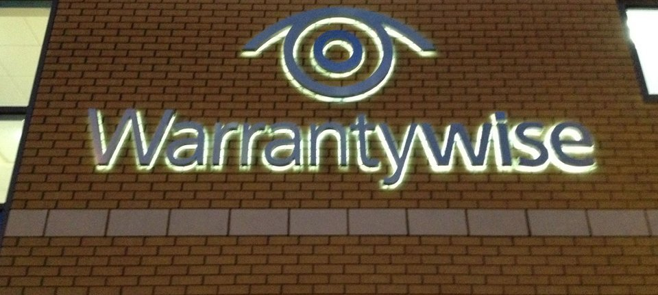 Illuminated Warrantywise sign