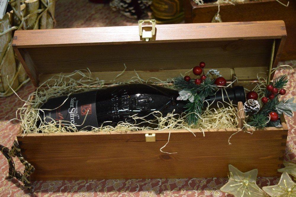 Cofanetto legno bottiglia Magnum Chateauneuf du Pape