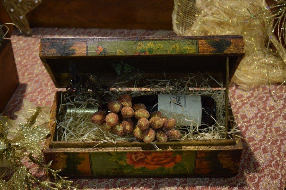 Cofanetto legno decorato bottiglia TBA Burgenland
