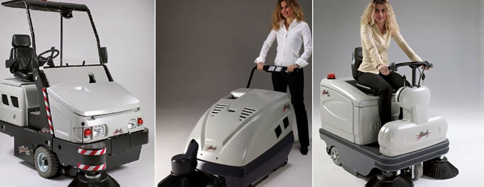 a lady using floor sweepers