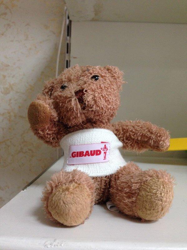 Un peluche di un orso con una benda con scritto Gibaud
