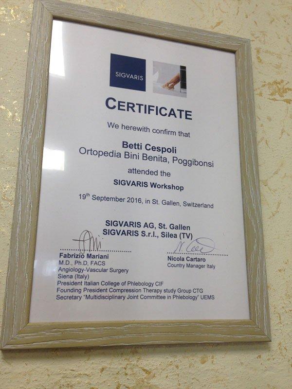 un certificato rilasciato a Betti Cespoli