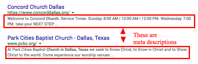 church website seo meta description example