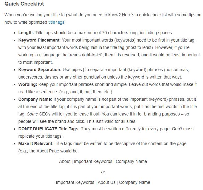 church website seo title checklist from search engine watch