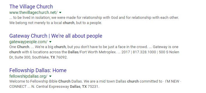 church website seo titles