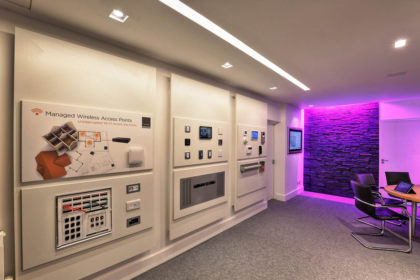 New Wave AV demonstration wall of products