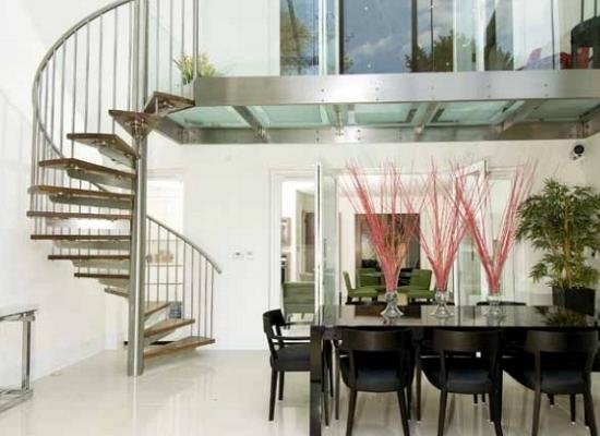 Spiral staircase and dinning area