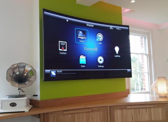 Control4 GUI on a Samsung curved screen