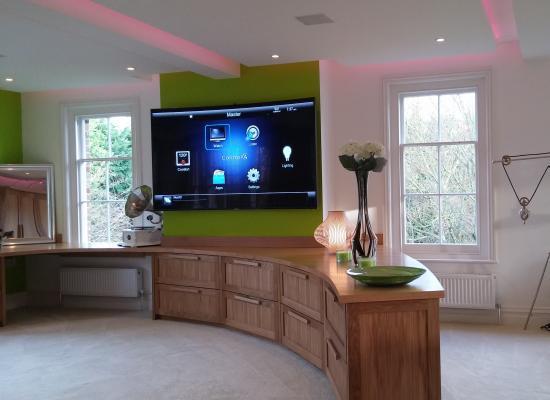 Multi media television screen in a bedroom