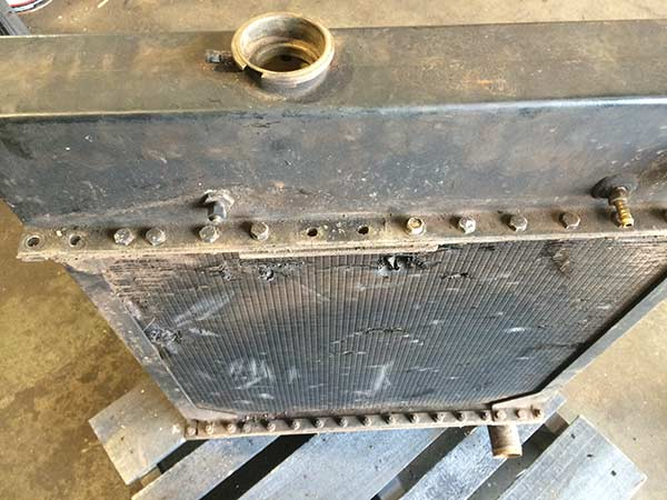 View of an old car radiator