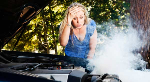 Young women shocked to see heated engine