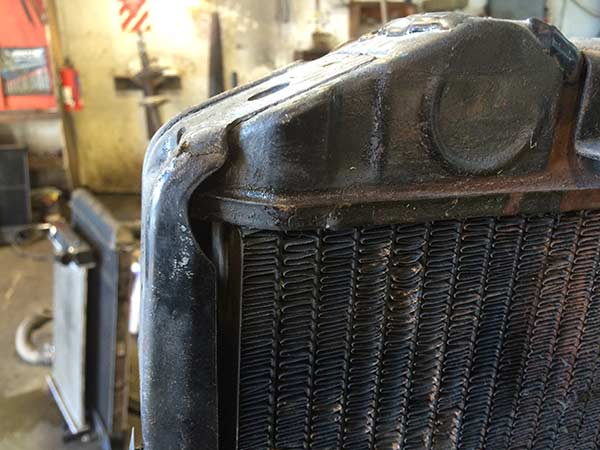 View of the radiator before repair