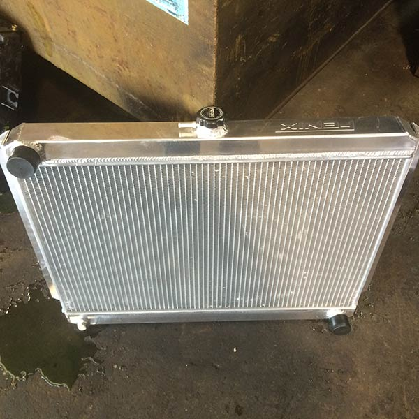 View of a new car radiator