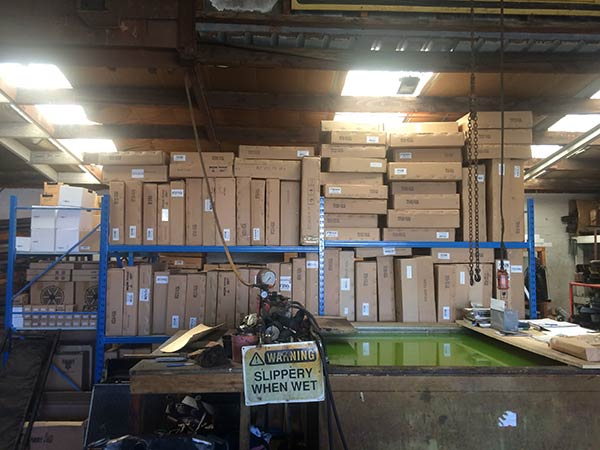 View of the inventory at the warehouse