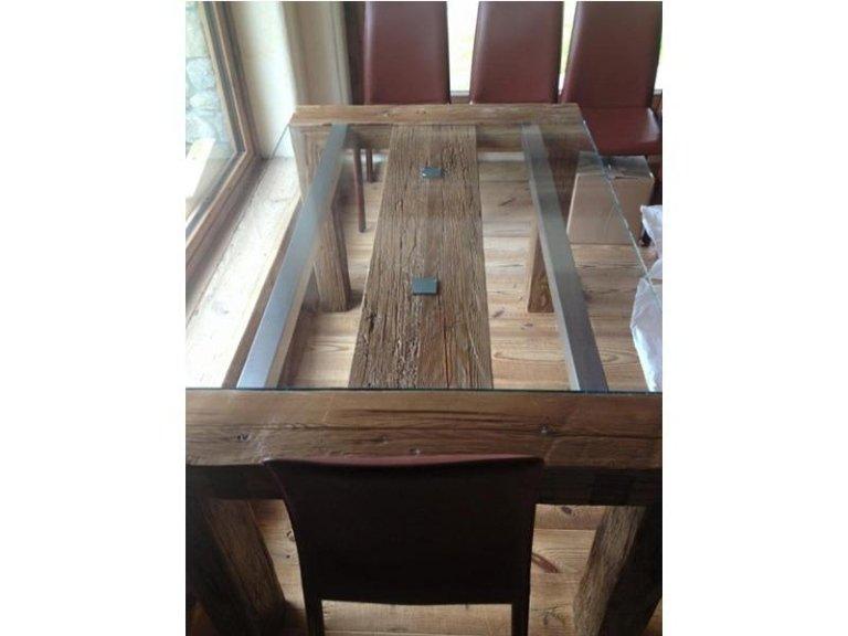 Tavolo 10 mm temperato con base in legno