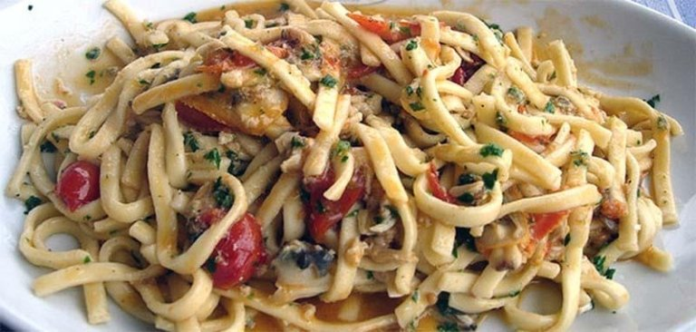 Homemade Scialatielli pasta