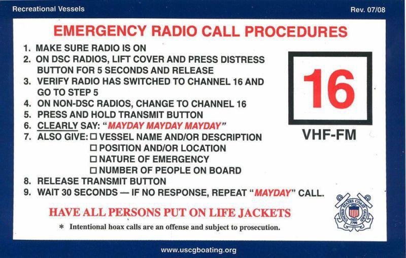 Boater Emergency VHF Procedures