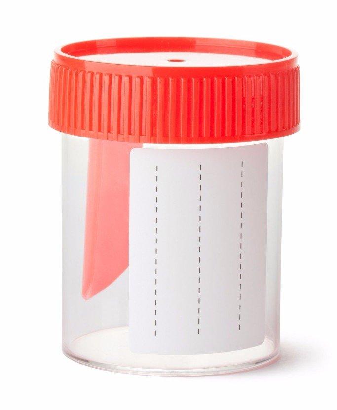 Un contenitore con tappo rosso