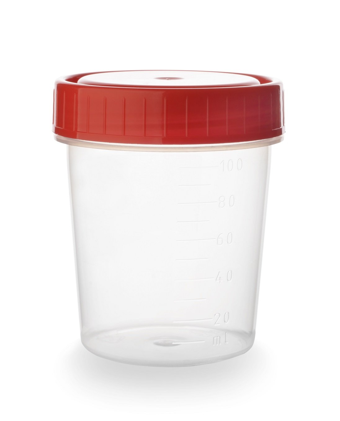 Un piccolo contenitore per analisi con tappo rosso