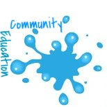 blue community education paint splatter