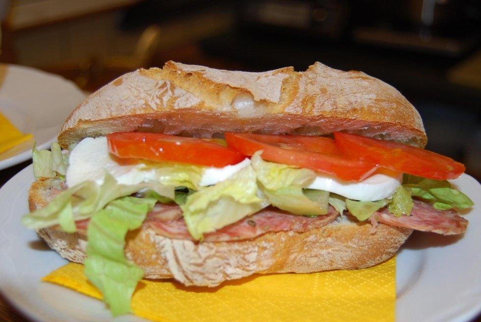 panino con mozzarella pomodoro lattuga e salame