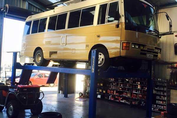 Mini bus in garage
