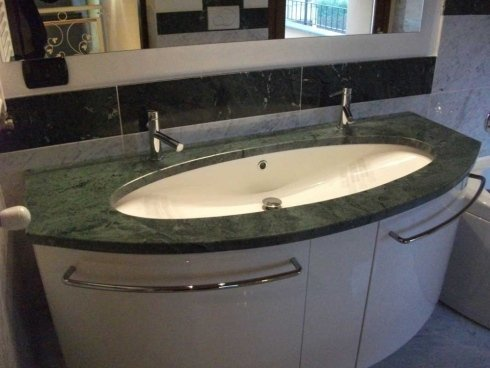 Top bagno in marmo verde