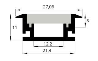 0002559 profilo da incasso calpestabile per pavimento 2 metri