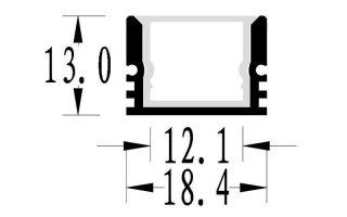 0002687 profilo in alluminio 18x13mm waterproof con anima interna in alluminio 2 metri