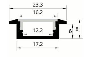0002534 profilo in alluminio da incasso 23x8mm 2 metri