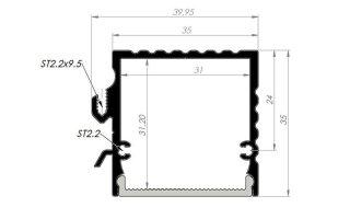 0002551 profilo in alluminio da parete con luce su un lato 35x40mm 2 metri