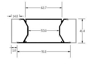 0002703 profilo in alluminio da parete 92x42mm 2 metri