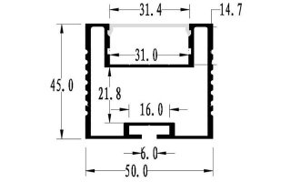 0002668 profilo in alluminio 50x45mm 2 metri