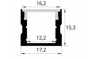 0002521 profilo in alluminio 17x15mm 2 metri