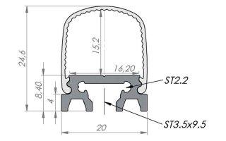 0002523 profilo in alluminio 180 alu square con diffusore opaco 2 metri