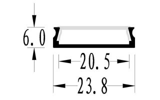 0002656 profilo in alluminio 24x6mm 2 metri